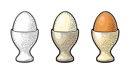 卵カップに立つ卵。ヴィンテージカラーの彫刻イラスト。