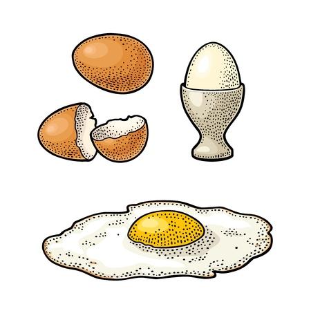 Gebakken ei en gebroken schaal. Vintage kleur gravure illustratie. Stock Illustratie