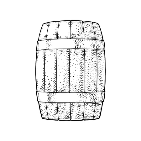 Wooden barrel with metal hoops. Engraving vintage vector black illustration. Isolated on white background. Hand drawn design element for label and poster