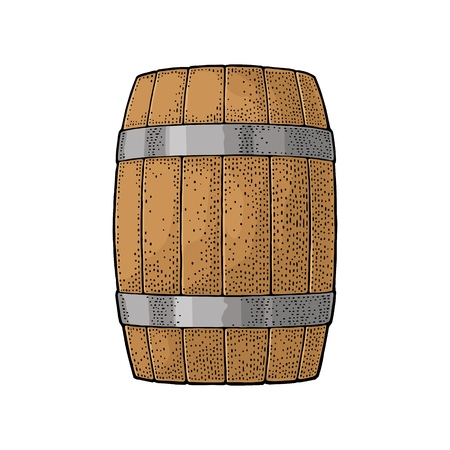 Wooden barrel with metal hoops. Colored   vintage engraving vector illustration isolated on white background. Hand drawn design element for label and poster