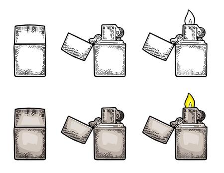 Gli accendini a manico in metallo si chiudono e si aprono con la fiamma Archivio Fotografico - 93465858
