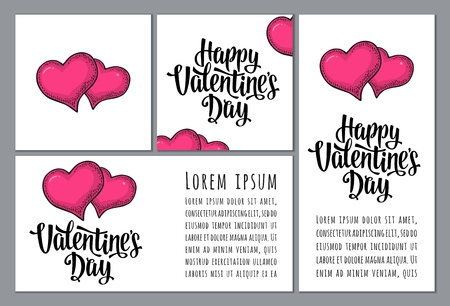 Heart balloon. Happy Valentines Day calligraphic handwriting lettering. Vector color vintage engraving illustration isolated on a white background. Vertical, horizontal and square posters