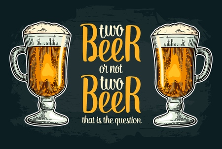 Two beer or not two beer. Vintage vector engraving illustration with calligraphy lettering for web, poster, invitation to party and Oktoberfest festival. Isolated on dark background.