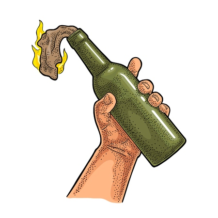 Male hand holding Molotov Cocktail. Glass bottle with gasoline and rag wick. Engraving vintage vector color illustration. Isolated on white background. Hand drawn design element for label and poster. Vettoriali