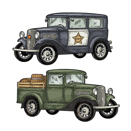 Retro police car sedan with sheriff star and pickup truck with wood barrel. Side view. Vintage color engraving illustration for poster, web. Isolated on white background. Hand drawn design element Vettoriali