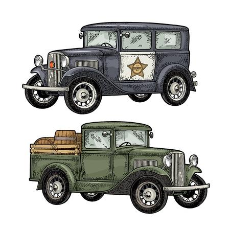 Retro politiewagensedan met sheriffster en pick-up met houten vat. Zijaanzicht. Vintage kleur gravure illustratie voor poster, web. Geïsoleerd op witte achtergrond Hand getekend ontwerpelement