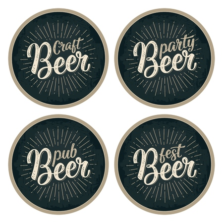 Craft Beer calligraphic lettering with rays. Advertising design for coaster. Vector vintage engraving illustration on dark circle