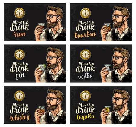 Hipster holding a glasses with alcohol drinks and antique pocket watch. Vintage vector engraving illustration for poster, invitation to party. Time to Drink lettering. Isolated on dark background.