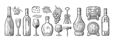 Set drinks made from grapes. Wine, brandy, champagne bottle, glass, barrel, cheese, barrel, bunch of grapes with berry and leaf. Vintage black engraving vector illustration isolated on white background