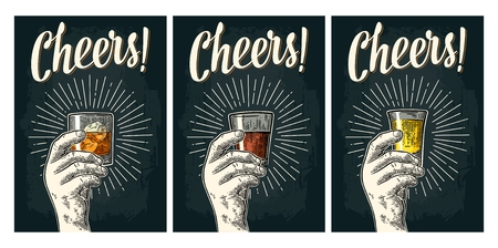 Male hand holding glass tequila, rum, whiskey with ray. Cheers calligraphy lettering. Vintage vector color and monochrome engraving illustration for poster, invitation to party. Isolated on dark background. Illustration