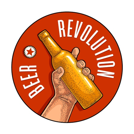 Man hand holding open brown bottle. Beer Revolution lettering. Vintage vector color engraving illustration for web, poster, invitation to party. Isolated on red circle.