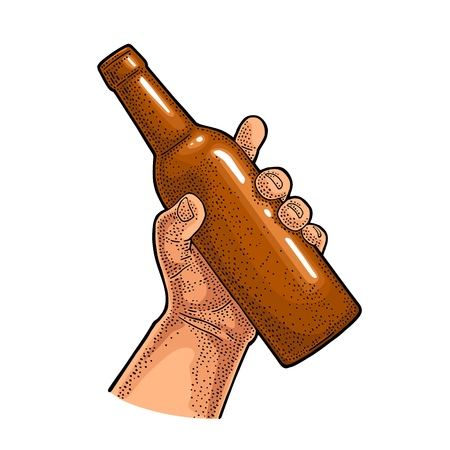 Man hand holding open beer bottle. Vintage vector color engraving illustration for web, poster, invitation to party. Isolated on white background. Иллюстрация
