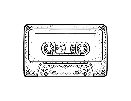 Retro audio cassette. Vintage vector black engraving illustration for poster, web. Isolated on white background. Hand drawn design element  イラスト・ベクター素材