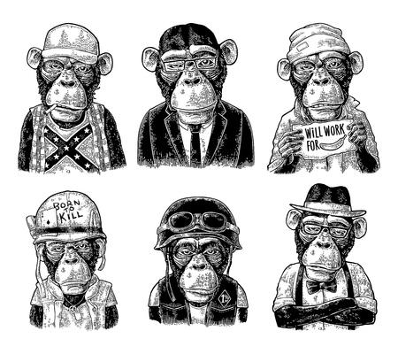 Affe in menschlicher Kleidung. Redneck, Geschäftsmann, Hipster, Biker, Soldat, Bettler. Schwarze Stichillustration der Weinlese für Plakat. Isoliert auf weißem hintergrund