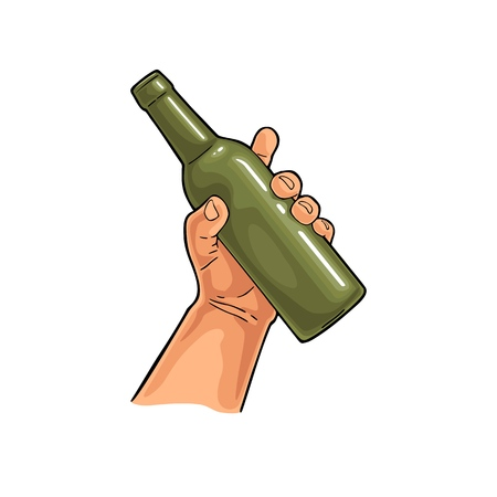 Man hand holding open beer bottle. Vintage vector color flat illustration for web, poster, invitation to party. Isolated on white background.