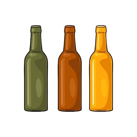 Open bierflessen met groen, geel en bruin glas. Vintage egale kleur vector gravure illustratie. Geïsoleerd op witte achtergrond
