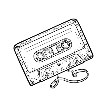 Retro audio cassette with tangled tape. Vintage vector black engraving illustration for poster, web. Isolated on white background.
