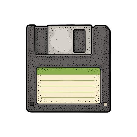 개인 컴퓨터 용 빈 레이블이있는 플로피 디스크. 빈티지 벡터 색 그림 조각.