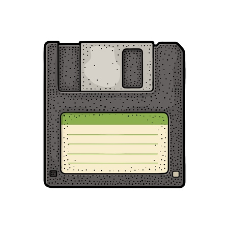 Floppy disk with blank label for personal computer. Engraving vintage vector color illustration.
