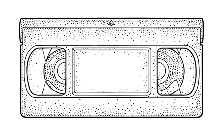 Retro tape video cassette. Vintage vector black engraving illustration for poster, web. Isolated on white background. Hand drawn design element