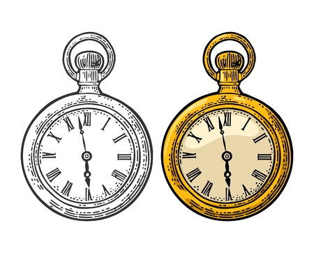 Antique pocket watch. Vintage vector color and black engraving illustration for info graphic, poster, web. Isolated on white background.
