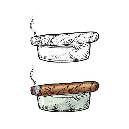Fumer un cigare et un cendrier. Gravure illustration vectorielle vintage noir. Isolé sur fond blanc Élément de design dessiné à la main pour étiquette et affiche Banque d'images - 94013906