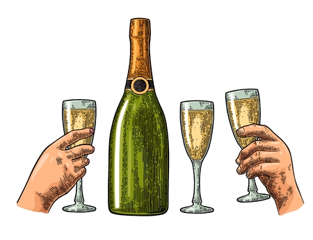 Bottle of champagne, male and female hand hold glass. Vintage color vector engraving illustration for web, poster, invitation to party. Hand drawn design element isolated on white background.
