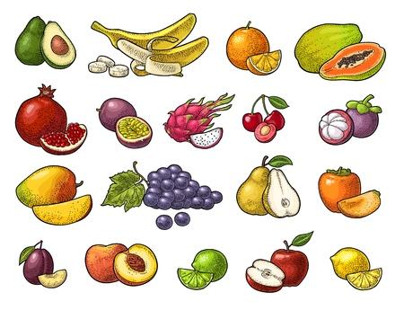 Set of fruits, lime, banana, maracuya, avocado, dragon, lemon, orange, garnet, peach, apple, pear, grape, plum, passion, mangosteen, papaya, persimmon, cherry.