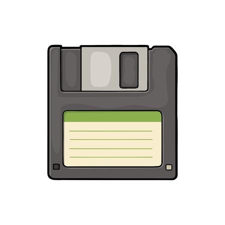 Floppy disk Flat color illustration.