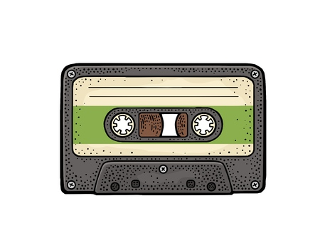 Retro audio cassette. Vintage vector black engraving illustration Иллюстрация