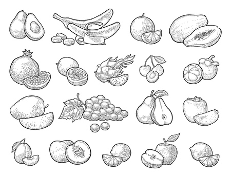 Set fruits. Mango, lime, banana, maracuya, avocado, dragon, lemon, orange, garnet, peach, apple, pear, grape, plum, passion, mangosteen, papay, persimmon, cherry. Vector black vintage engraving