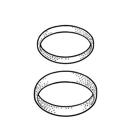 Two wedding rings. Vintage black vector engraving illustration for poster, label, web. Isolated on white background. Hand drawn design element
