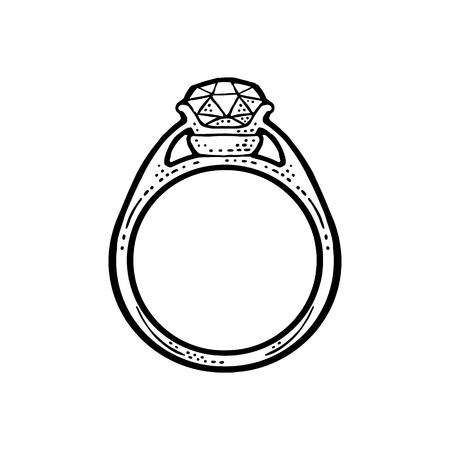 Ring with diamond. Vintage black vector engraving illustration for poster, label, web. Isolated on white background. Hand drawn design element