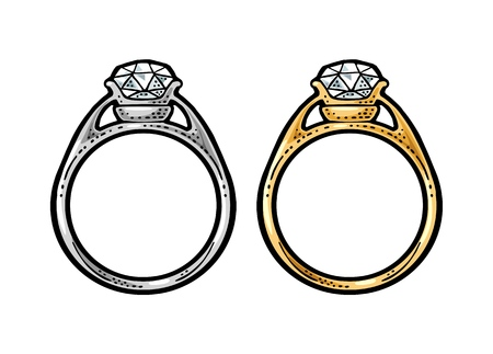 Gold and platinum rings with diamond. Vintage color vector engraving