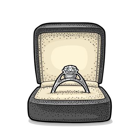Trouwring met diamant in een geschenkdoos. Vintage kleur vector gravure illustratie