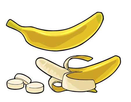 전체, 절반 벗 겨 및 슬라이스 바나나입니다. 벡터 색 조각 손으로 그린 빈티지 조각 메뉴, 웹 및 레이블에 대 한 그림입니다. 흰색 배경에 고립.
