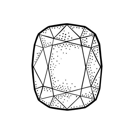 에메랄드 보석 원석. 포스터, 레이블, 웹에 대 한 빈티지 검은 벡터 조각 그림. 흰색 배경에 고립. 손으로 그린 디자인 요소