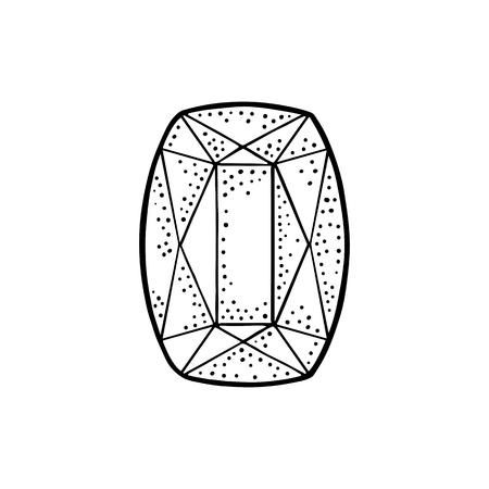 루비 원석. 포스터, 레이블, 웹에 대 한 빈티지 검은 벡터 조각 그림. 흰색 배경에 고립. 손으로 그린 디자인 요소 일러스트