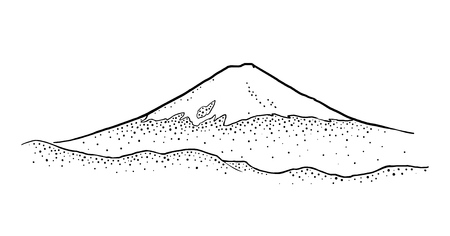 Mountain Fuji in Japan. Vintage black vector engraving illustration