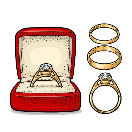 Wedding ring with diamond in a gift box. Vintage color vector engraving illustration.
