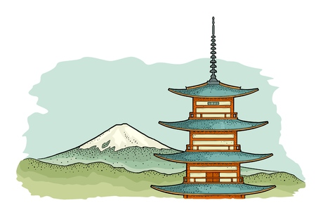 Mountain Fuji in Japan. Vintage color vector engraving illustration for poster, label, web. Isolated on white background. Hand drawn design element.
