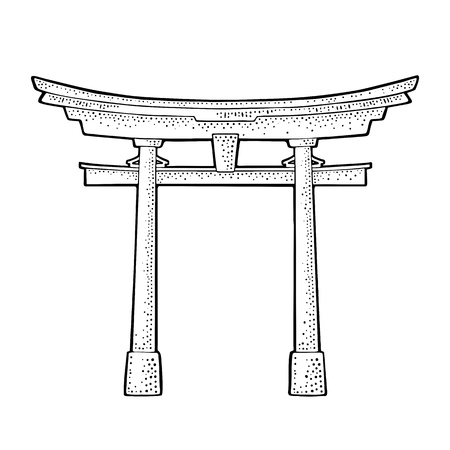 Traditional japanese torii gate in Japan. Vintage black vector engraving illustration for poster, label, web. Isolated on white background. Hand drawn design element
