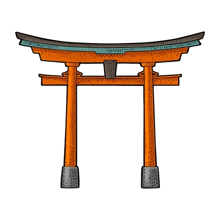 Traditional Japanese torii gate in Japan. Vintage color vector engraving illustration for poster, label, web. Isolated on white background. Hand drawn design element Фото со стока - 94792536