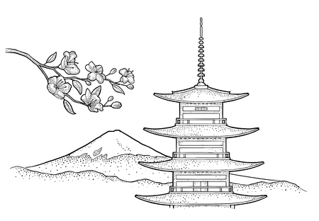 Mountain Fuji in Japan and cherry sakura branch with flowers and blossom. Vintage black vector engraving illustration for poster, label, web. Isolated on white background. Hand drawn design element