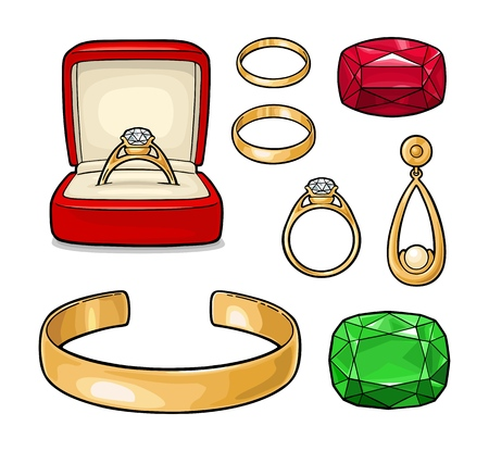 Set jewelry. Wedding ring with diamond in a gift box, earring with pearl, bracelet, emerald and ruby gem stone. Vintage color vector engraving illustration isolated on white background Ilustração