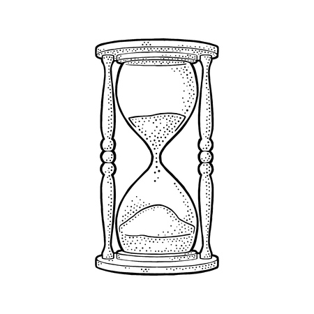 Retro hourglass. Vector black vintage engraving illustration isolated on white background. Hand drawn design element for label, poster Vettoriali
