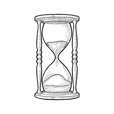 Retro zandloper. Vector zwarte vintage gravure illustratie geïsoleerd op een witte achtergrond. Hand getekend ontwerpelement voor label, poster Stock Illustratie