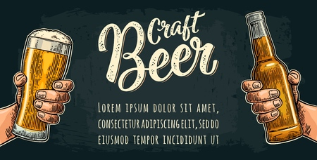 Male hand holding a glass and bottle. Craft beer calligraphic lettering vintage color vector engraving illustration for web, poster, invitation to party or festival isolated on dark background.