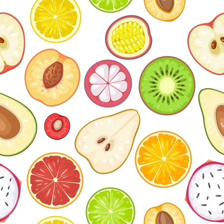 Seamless pattern fruits. Slice apple, kiwi, peach, lime, lemon, orange, mango, avocado, dragon, cherry, mangosteen, citrus. Vector color vintage flat illustration isolated on white background Stock Vector - 94943450