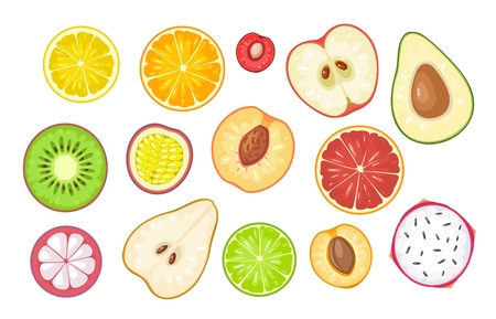 Set slice fruits. Vector color flat illustration lemon, orange, cherry, apple, avocado, kiwi, passion, grapefruit, peach, mangosteen, pear, lime, apricot, dragon, citrus isolated on white background Vettoriali